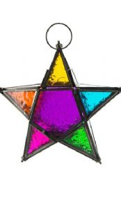 Lantern~ Rainbow Glass and Iron Hanging 5 Point Star Lantern~ By Folio Gothic Hippy LT15